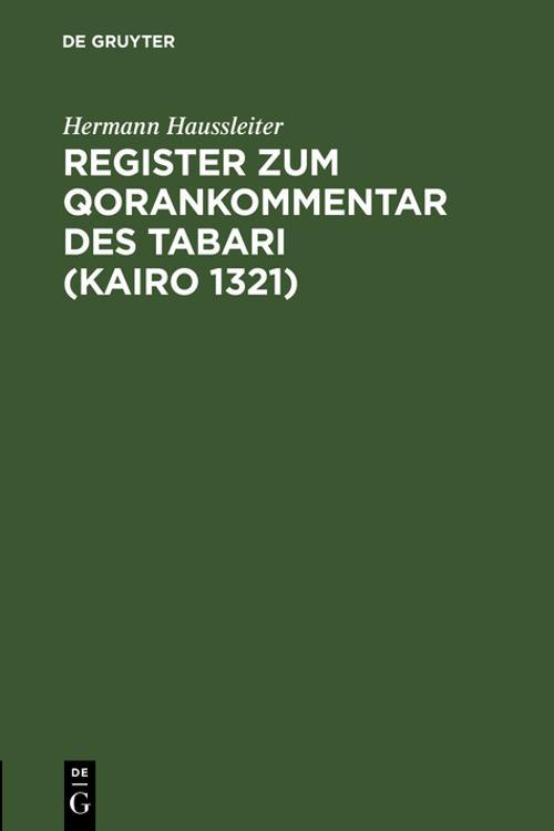 Register zum Qorankommentar des Tabari (Kairo 1321)