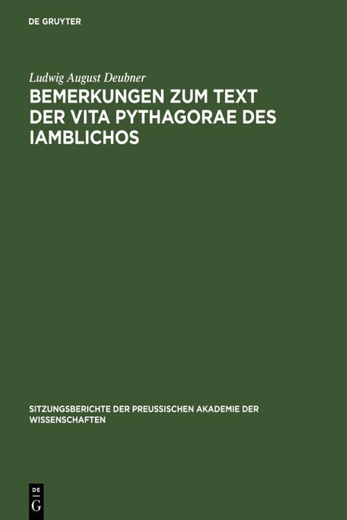 Bemerkungen zum Text der Vita Pythagorae des Iamblichos