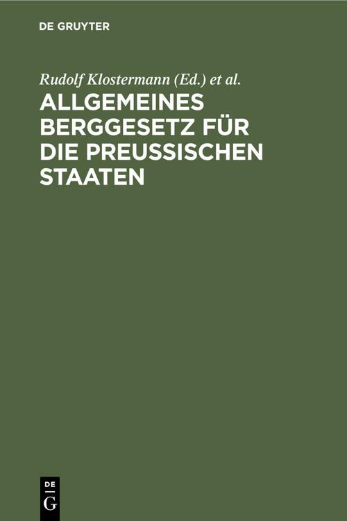 Allgemeines Berggesetz für die preußischen Staaten