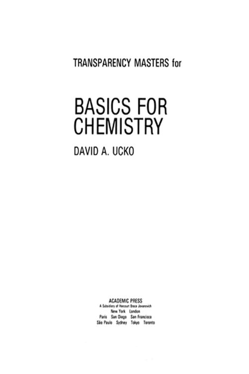 Transparency Masters for Basics for Chemistry