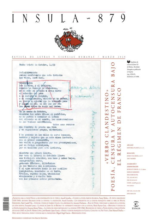 """""""Verbo clandestino"""" Poesía, censura y autocensura bajo el régimen de Franco"""